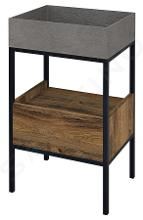 Sapho Skara - Meuble sous lavabo avec un tiroir, 470x715x360 mm, noir mat/chêne Collingwood CG001