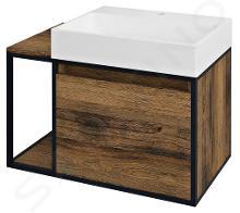 Sapho Skara - Meuble sous lavabo, 800x495x465 mm, noir mat/chêne Collingwood CG003