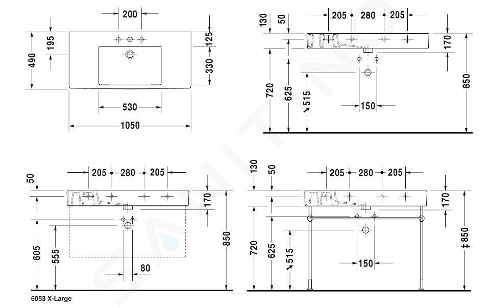 Duravit Vero - Waschtisch 1050x490 mm, mit 1 Hahnloch, mit WonderGliss, Alpinweiß 03291000001