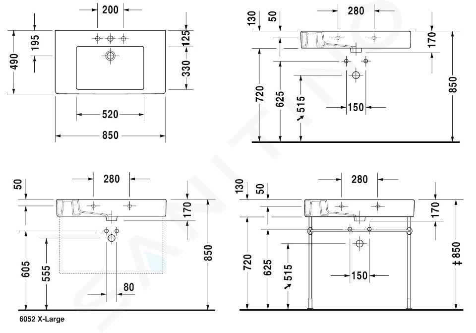Duravit Vero - Wastafel 850x490 mm, met 1 kraangat, met WonderGliss, alpine wit 03298500001