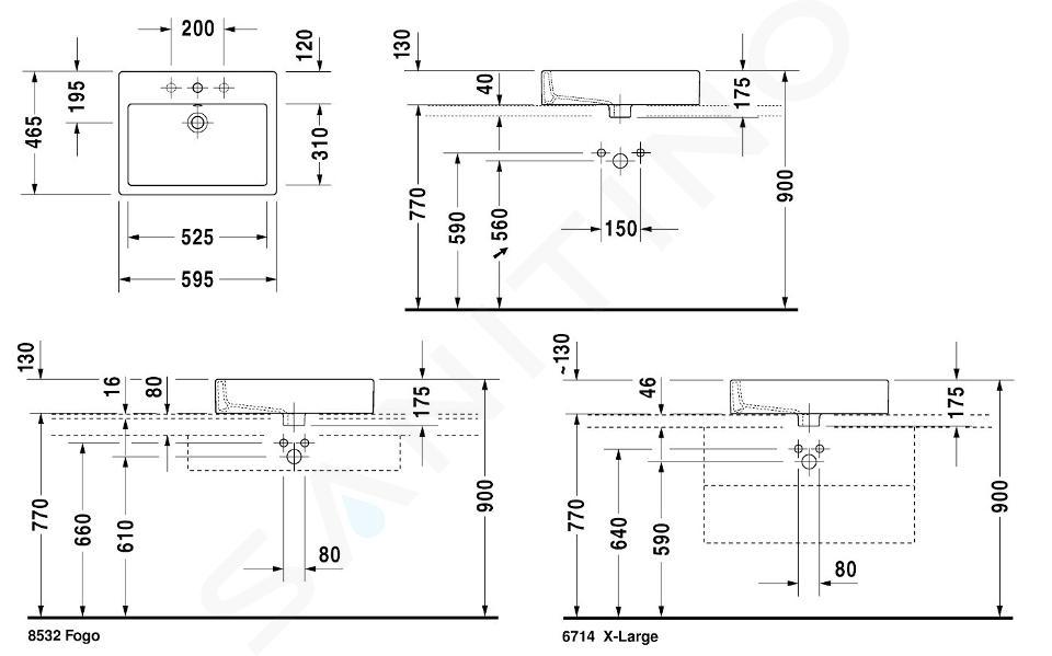 Duravit Vero - Inbouwwastafel, 595x465 mm, met 1 kraangat, met WonderGliss, alpine wit 04526000001