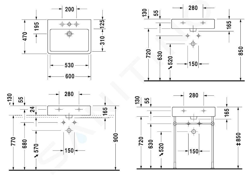 Duravit Vero - Waschtisch 600x470 mm, mit 1 Hahnloch, mit WonderGliss, Alpinweiß 04546000001