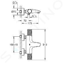 Grohe Grohtherm 1000 Performance - Miscelatore termostatico per vasca da bagno, cromo 34779000
