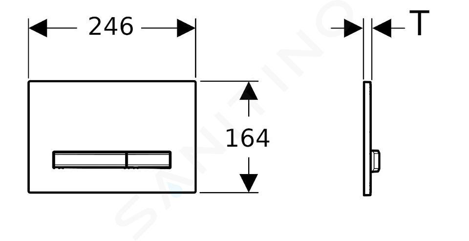 Geberit Sigma50 - Plaque de déclenchement 2 touches, blanc/laiton 115.672.11.2