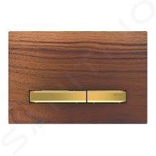 Geberit Sigma50 - Plaque de déclenchement 2 touches, noyer américain/laiton 115.672.JX.2