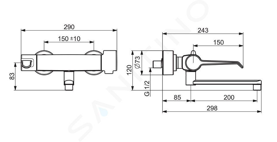 Hansa Clinica - Mitigeur thermostatique de lavabo avec bec orientable, Thermo Cool, chrome 08805202
