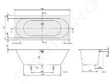 Villeroy & Boch Oberon 2.0 - Baignoire 1700x750x470 mm, Quaryl, blanc UBQ170OBR2DV-01