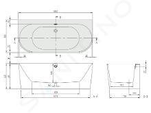 Villeroy & Boch Oberon 2.0 - Badewanne 1800x800x460 mm, Quaryl, Weiß UBQ180OBR9CD00V-01