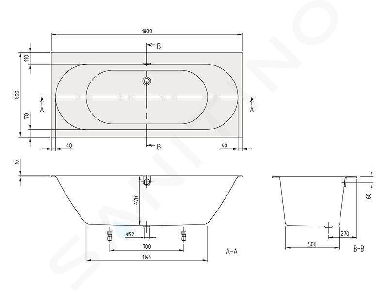 Villeroy & Boch Oberon 2.0 - Vana 1800x800x470 mm, Quaryl, bílá UBQ180OBR2DV-01