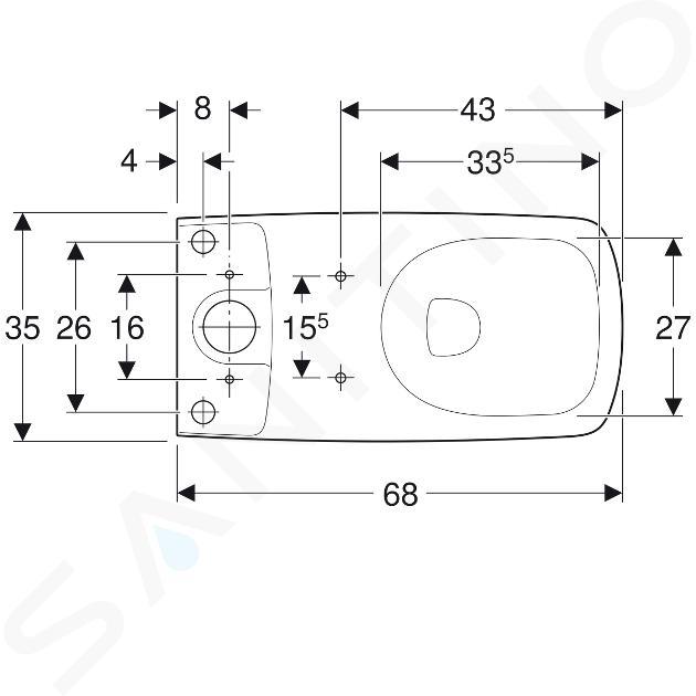 Geberit Selnova Square - cuvette de WC, sortie vario, 680x350 mm, Rimfree, blanc 500.489.01.1