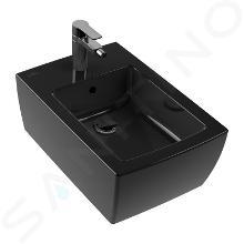 Villeroy & Boch Memento 2.0 - Bidet suspendu, avec un trou de robinetterie, CeramicPlus, Glossy Black 443300S0