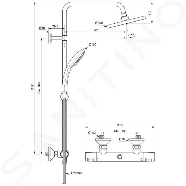 Ideal Standard CeraTherm - Set de douche T25 avec thermostat, 200 mm, 3 jets, chrome A7208AA