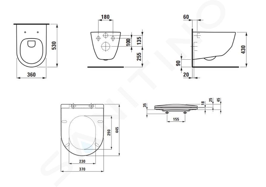 Laufen Pro - Závěsné WC se sedátkem Slim, Slowclose, Rimless, bílá H8669570000001