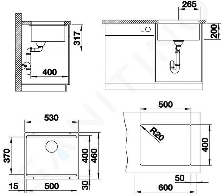 Blanco Etagon 500 - Silgranitspüle, 530x460 mm, mit Schienen, Anthrazit 522227