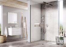 Ravak Walk-In - Sprchová stena Walk-in Wall 130, 1300x2000 mm, čierna/číre sklo GW9WJ0300Z1