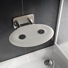 Ravak Ovo P II - Sprchové sedátko Opal, 410x350 mm, nerez/průsvitně bílá B8F0000049