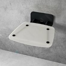 Ravak Ovo B II - Sprchové sedátko Opal/Black, 360x360 mm, černá/průsvitně bílá B8F0000060