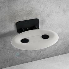 Ravak Ovo P II - Sprchové sedátko Opal/Black, 410x350 mm, černá/průsvitně bílá B8F0000057