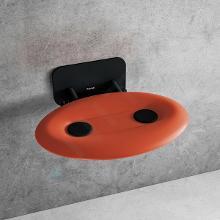 Ravak Ovo P II - Sprchové sedadlo Orange/Black, 410x350 mm, čierna/priesvitne oranžová B8F0000058
