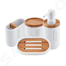 Nimco Kora - Súprava doplnkov do kúpeľne 4 v 1, biela/bambus KO 24000SET-05