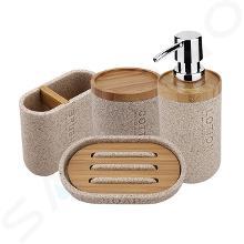 Nimco Kora - Set badkamer accessoires 4 in 1, zandbeige/bamboe KO 24000SET-86